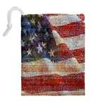 Grunge United State Of Art Flag Drawstring Pouches (Extra Large) Back