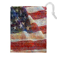 Grunge United State Of Art Flag Drawstring Pouches (XXL)