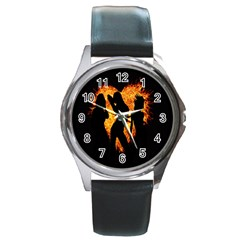 Heart Love Flame Girl Sexy Pose Round Metal Watch