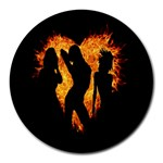 Heart Love Flame Girl Sexy Pose Round Mousepads Front