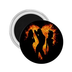 Heart Love Flame Girl Sexy Pose 2.25  Magnets