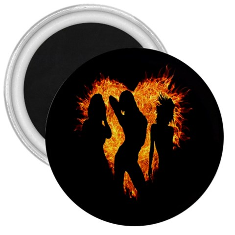 Heart Love Flame Girl Sexy Pose 3  Magnets