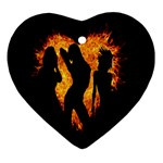 Heart Love Flame Girl Sexy Pose Ornament (Heart)  Front