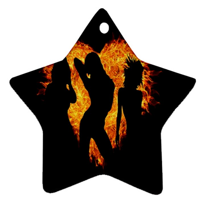 Heart Love Flame Girl Sexy Pose Ornament (Star)
