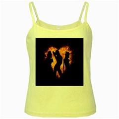 Heart Love Flame Girl Sexy Pose Yellow Spaghetti Tank