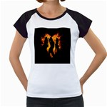 Heart Love Flame Girl Sexy Pose Women s Cap Sleeve T Front