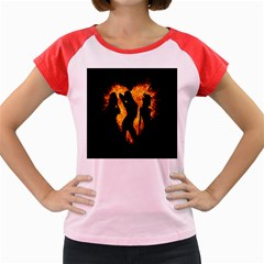 Heart Love Flame Girl Sexy Pose Women s Cap Sleeve T-Shirt