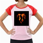 Heart Love Flame Girl Sexy Pose Women s Cap Sleeve T-Shirt Front