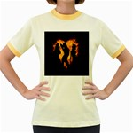 Heart Love Flame Girl Sexy Pose Women s Fitted Ringer T-Shirts Front