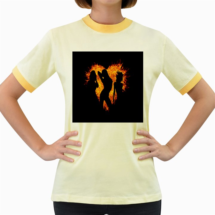 Heart Love Flame Girl Sexy Pose Women s Fitted Ringer T-Shirts