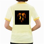 Heart Love Flame Girl Sexy Pose Women s Fitted Ringer T-Shirts Back
