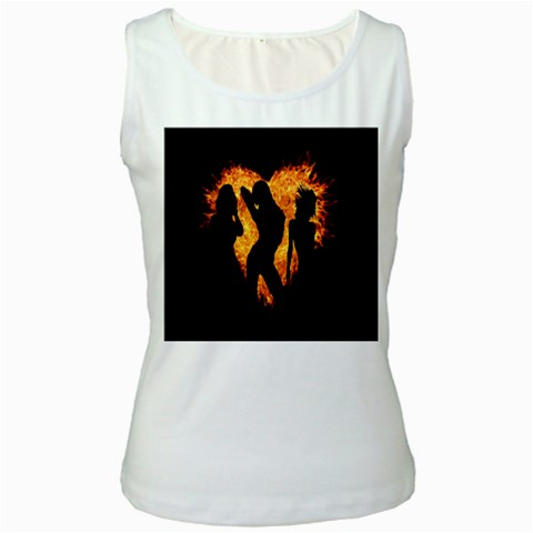 Heart Love Flame Girl Sexy Pose Women s White Tank Top