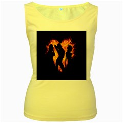 Heart Love Flame Girl Sexy Pose Women s Yellow Tank Top