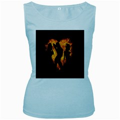 Heart Love Flame Girl Sexy Pose Women s Baby Blue Tank Top