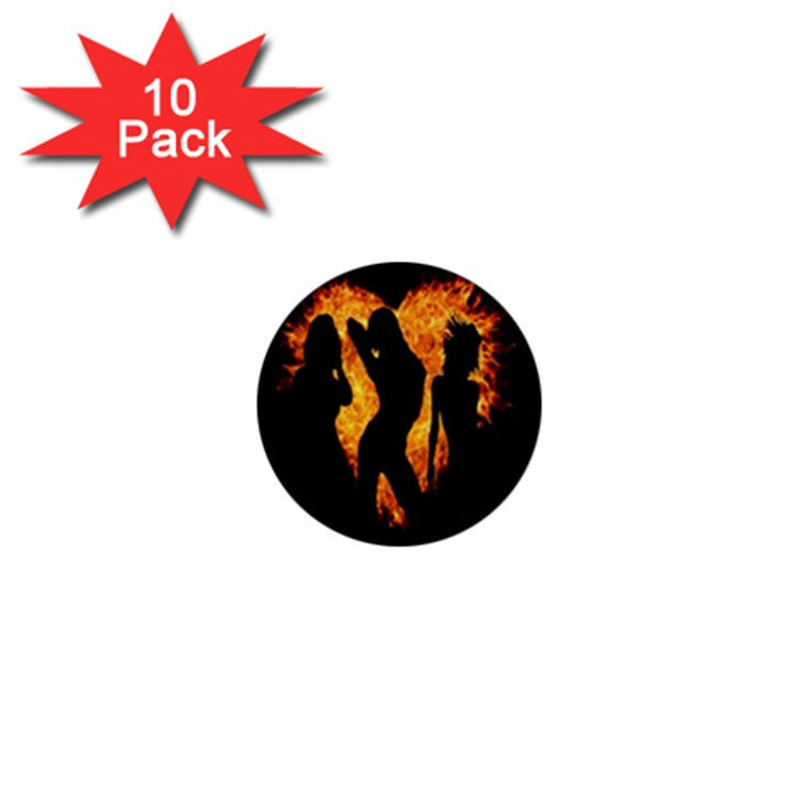 Heart Love Flame Girl Sexy Pose 1  Mini Buttons (10 pack)
