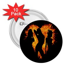 Heart Love Flame Girl Sexy Pose 2.25  Buttons (10 pack)