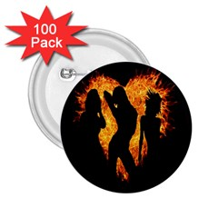 Heart Love Flame Girl Sexy Pose 2.25  Buttons (100 pack)