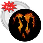 Heart Love Flame Girl Sexy Pose 3  Buttons (10 pack)  Front