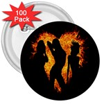 Heart Love Flame Girl Sexy Pose 3  Buttons (100 pack)  Front