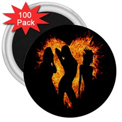 Heart Love Flame Girl Sexy Pose 3  Magnets (100 pack)