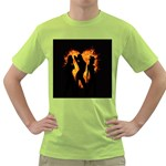 Heart Love Flame Girl Sexy Pose Green T-Shirt Front