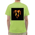 Heart Love Flame Girl Sexy Pose Green T-Shirt Back