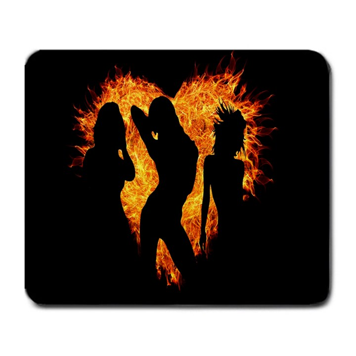 Heart Love Flame Girl Sexy Pose Large Mousepads