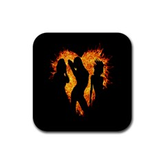 Heart Love Flame Girl Sexy Pose Rubber Coaster (Square)