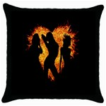 Heart Love Flame Girl Sexy Pose Throw Pillow Case (Black) Front