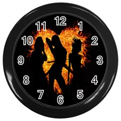 Heart Love Flame Girl Sexy Pose Wall Clocks (Black)