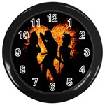 Heart Love Flame Girl Sexy Pose Wall Clocks (Black) Front