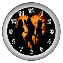 Heart Love Flame Girl Sexy Pose Wall Clocks (Silver)