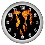 Heart Love Flame Girl Sexy Pose Wall Clocks (Silver)  Front