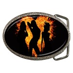 Heart Love Flame Girl Sexy Pose Belt Buckles Front