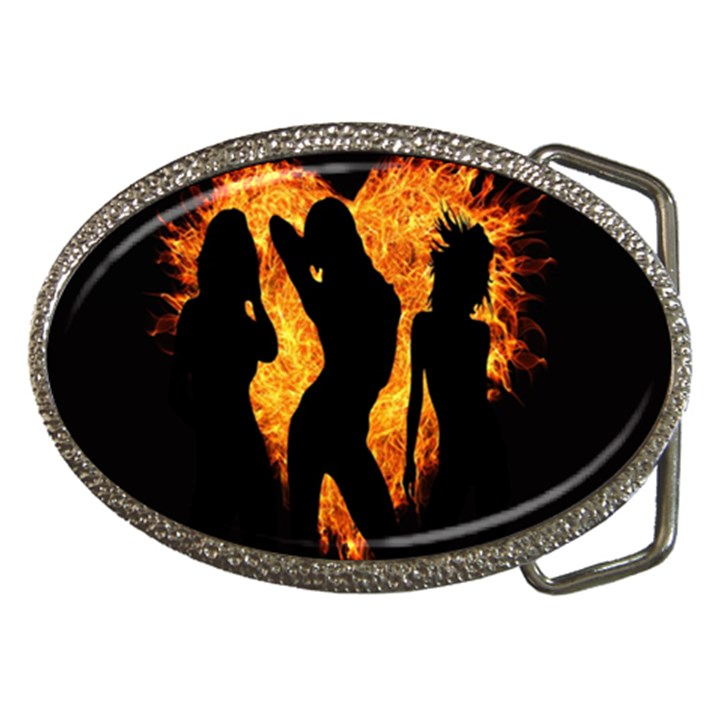 Heart Love Flame Girl Sexy Pose Belt Buckles