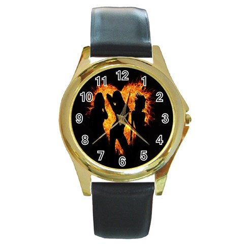 Heart Love Flame Girl Sexy Pose Round Gold Metal Watch