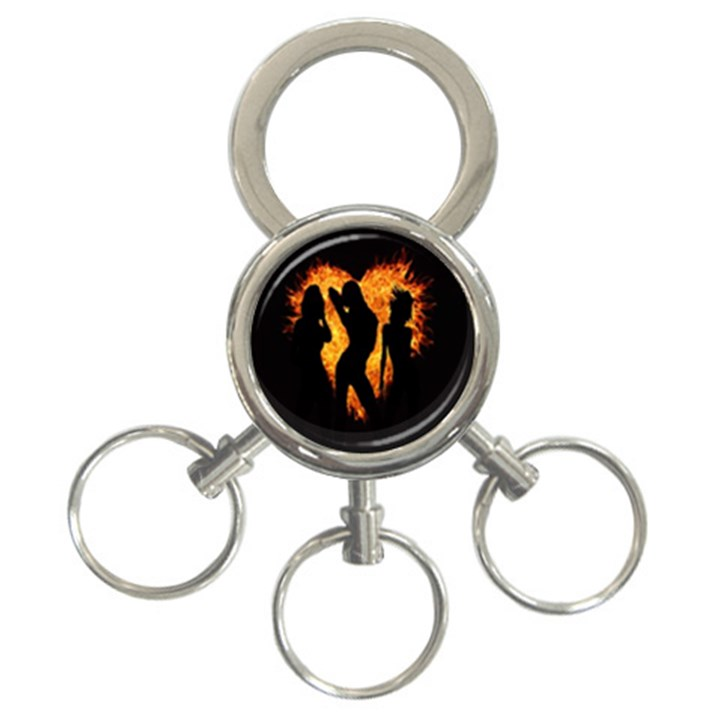 Heart Love Flame Girl Sexy Pose 3-Ring Key Chains