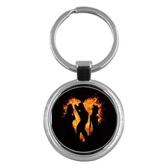 Heart Love Flame Girl Sexy Pose Key Chains (Round)