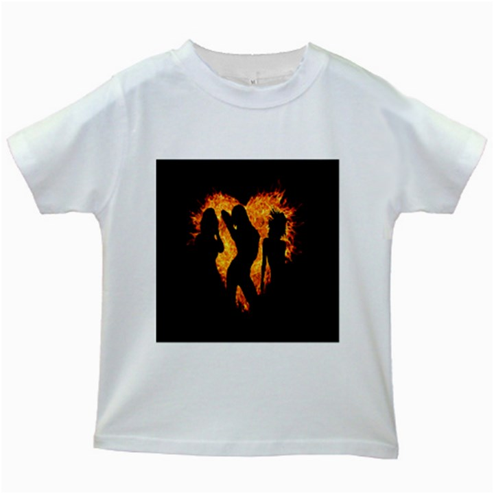 Heart Love Flame Girl Sexy Pose Kids White T-Shirts