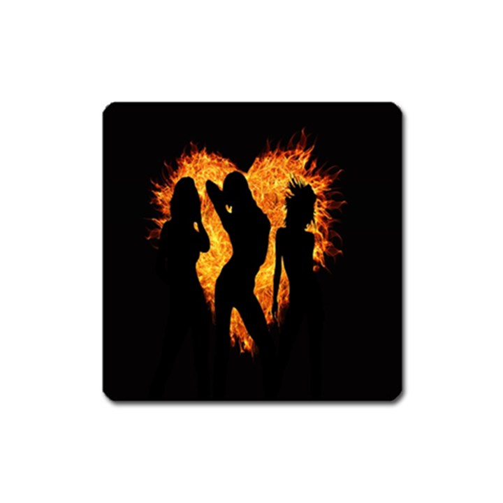 Heart Love Flame Girl Sexy Pose Square Magnet