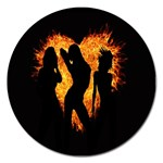 Heart Love Flame Girl Sexy Pose Magnet 5  (Round) Front