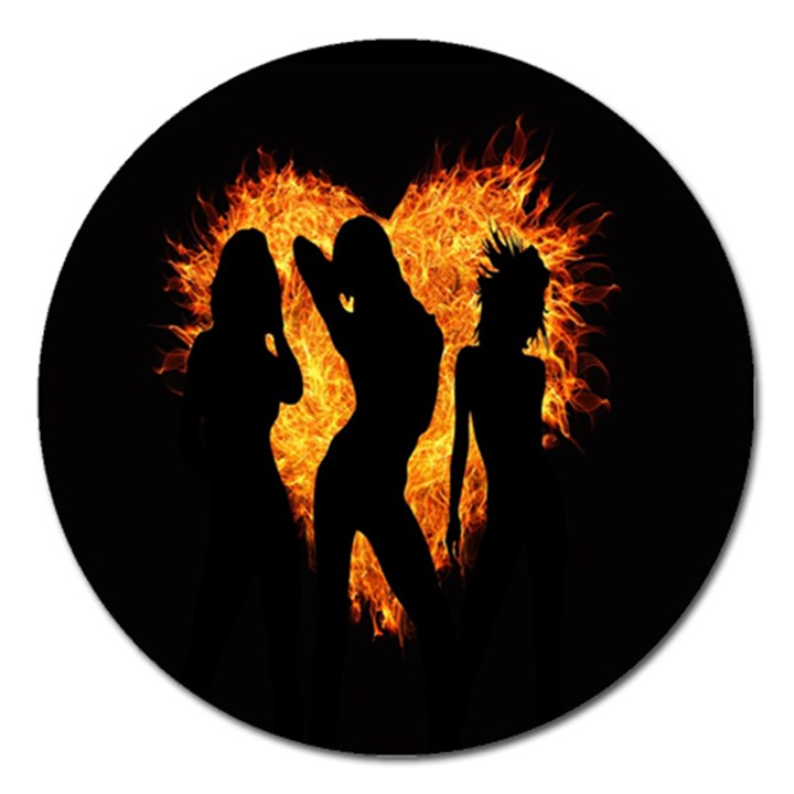 Heart Love Flame Girl Sexy Pose Magnet 5  (Round)