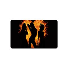 Heart Love Flame Girl Sexy Pose Magnet (Name Card)