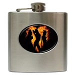 Heart Love Flame Girl Sexy Pose Hip Flask (6 oz) Front