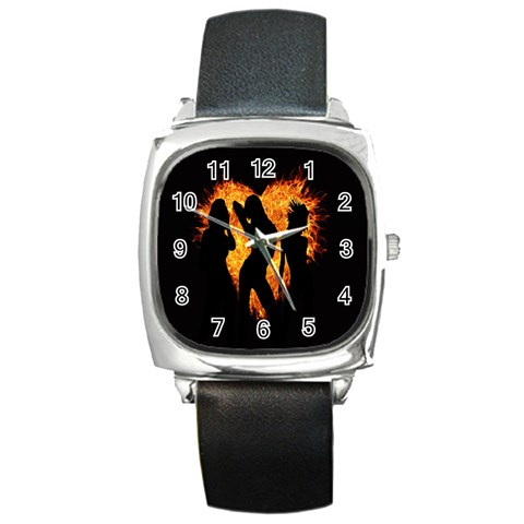Heart Love Flame Girl Sexy Pose Square Metal Watch