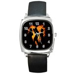 Heart Love Flame Girl Sexy Pose Square Metal Watch Front