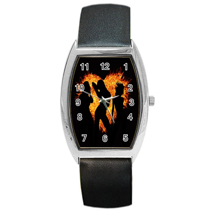 Heart Love Flame Girl Sexy Pose Barrel Style Metal Watch