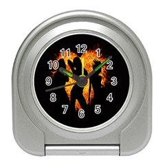 Heart Love Flame Girl Sexy Pose Travel Alarm Clocks