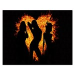 Heart Love Flame Girl Sexy Pose Rectangular Jigsaw Puzzl Front