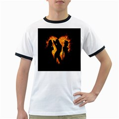 Heart Love Flame Girl Sexy Pose Ringer T-Shirts